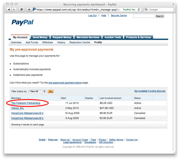 Recurring payments dashboard - PayPal-2